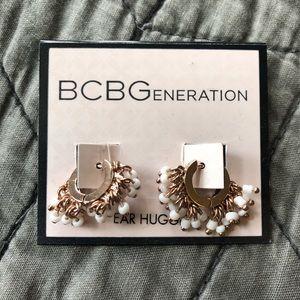 BCBGeneration ear hugger earrings with beads